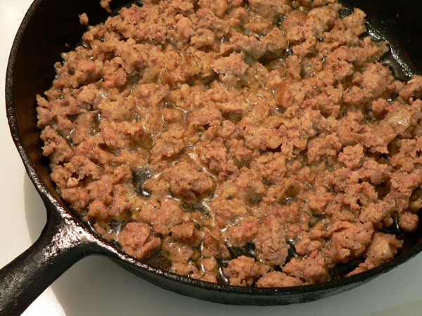 Sausage Gravy, brown the sausage.