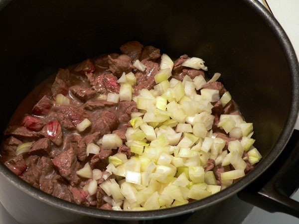 Vegetable Beef Soup, add the onions.