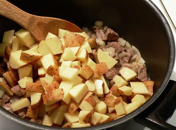 Vegetable Beef Soup, add the potatoes.