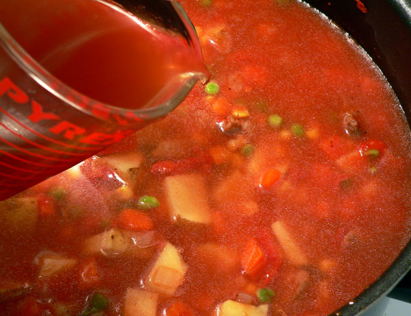 Vegetable Beef Soup, add beef broth.