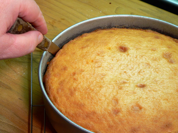 Basic Cake Layers, run a knife around the inside edge.