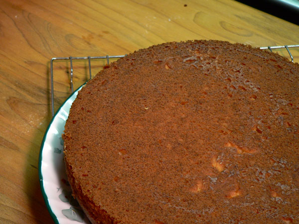 Basic Cake Layers, lift the pan from the layer.