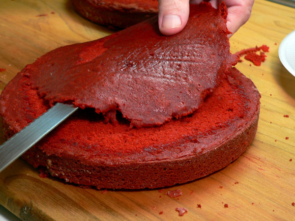 Red Velvet Cake, level the layers.