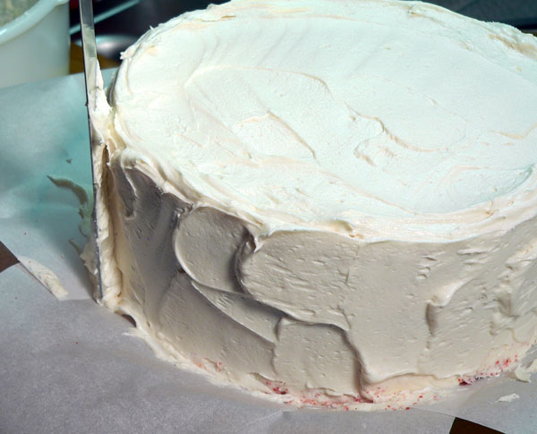 Red Velvet Cake, final frosting layer.