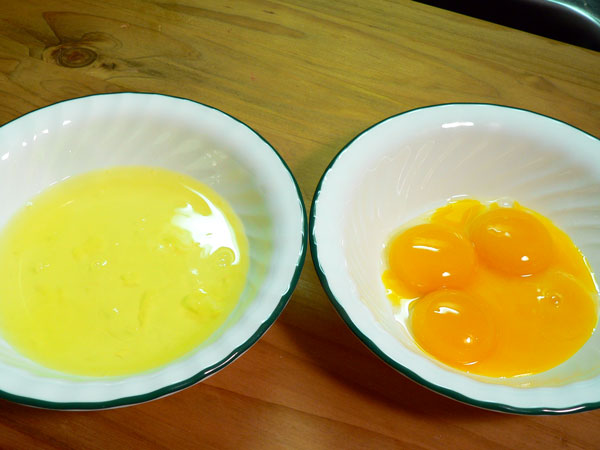 Seven Minute Frosting, separate the egg whites and yolks.