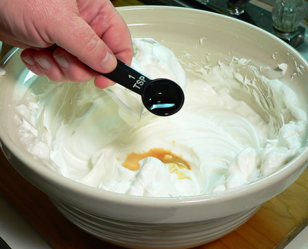 Seven Minute Frosting, add vanilla.