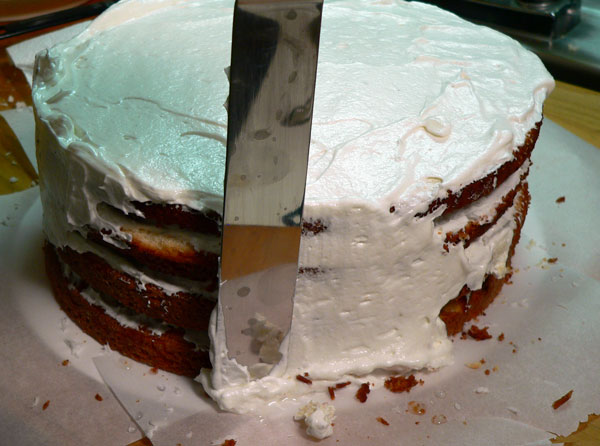Seven Minute Frosting, frosting the layers.