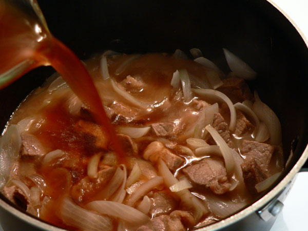 Beef Tips, add beef broth.