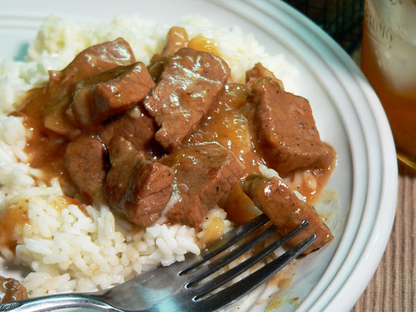 Beef Tips, plate it up and enjoy.