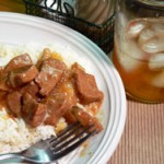 Beef Tips with Rice and Gravy, printbox photo.