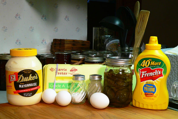 Deviled Eggs, the ingredients.