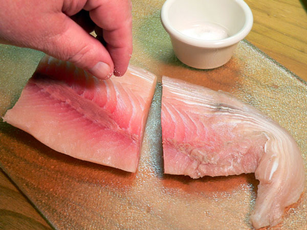 Mahi-Mahi, sprinkle fillet with a little salt to taste.