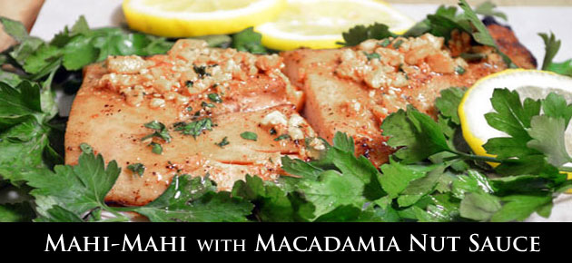 Mahi-Mahi with Macadamia Nut Sauce recipe, slider.