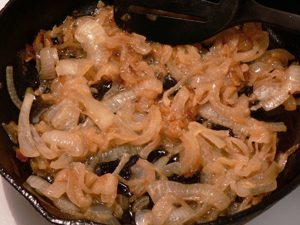Liver and Onions, keep stirring the onions.