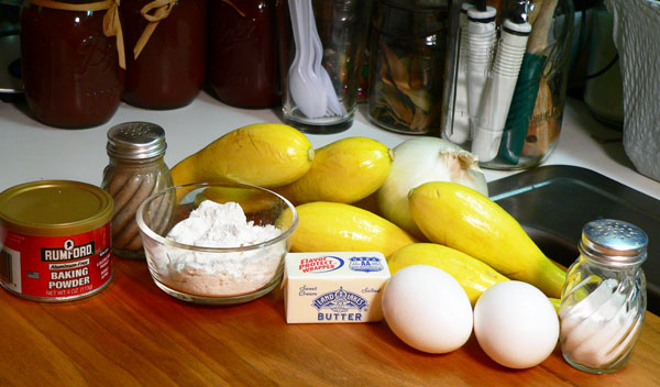 Squash Fritters, ingredients.