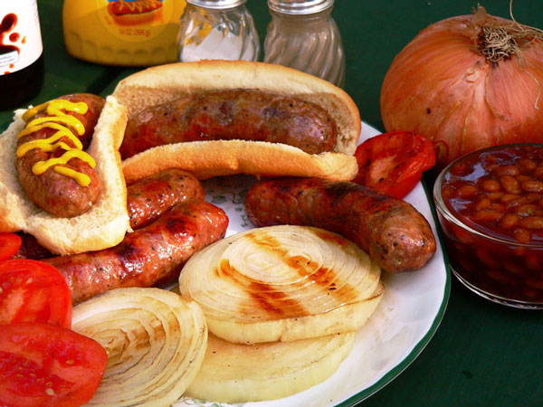 Grilled Vidalia Steaks with Sweet Italian Sausages