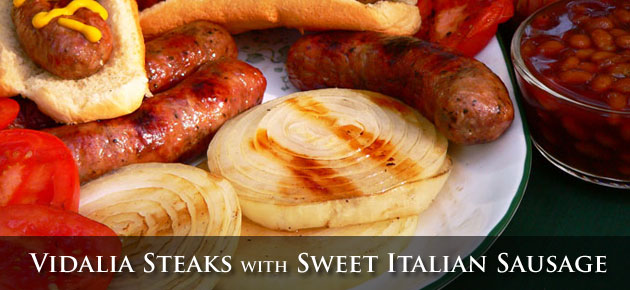Grilled Vidalia Steak with Sweet Italian Sausages, slider.