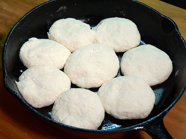 Buttermilk Biscuits, place in pan.