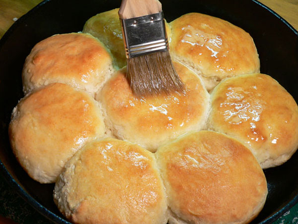 Buttermilk Biscuits, brush with butter.