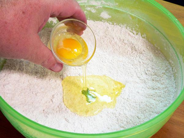Cheerwine Cobbler, add whole egg.