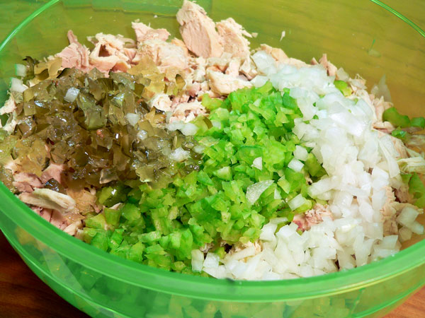 Southern Chicken Salad, add onions and pickles.