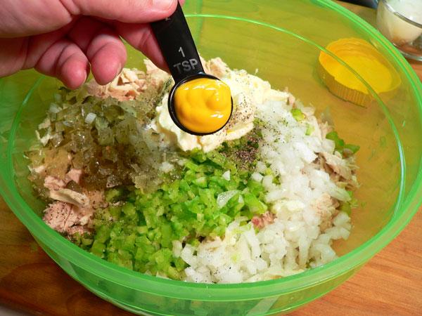 Southern Chicken Salad, add the mustard.