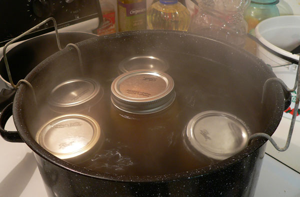 Peach Butter, canning rack is loaded.