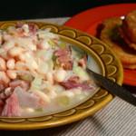 Ham Bone Beans printable recipe as found on Taste of Southern.