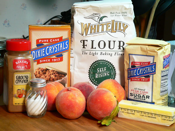 Peach Delight Cobbler, ingredients.