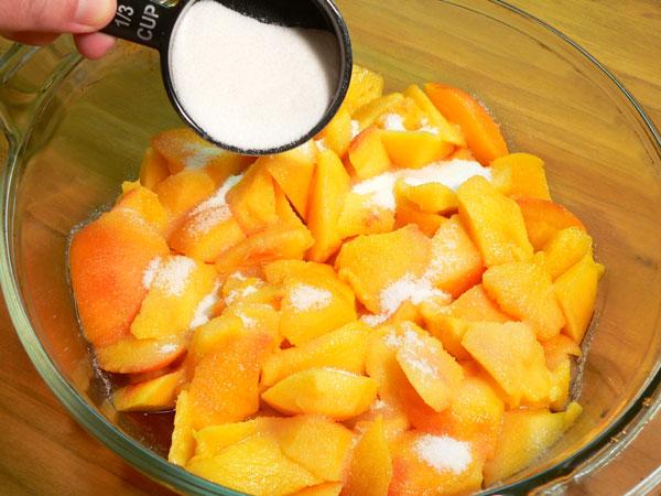 Peach Delight Cobbler, add granulated sugar.