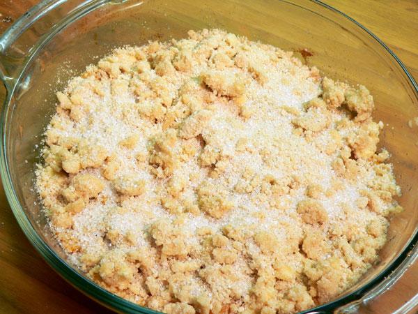 Peach Delight Cobbler, ready to bake.