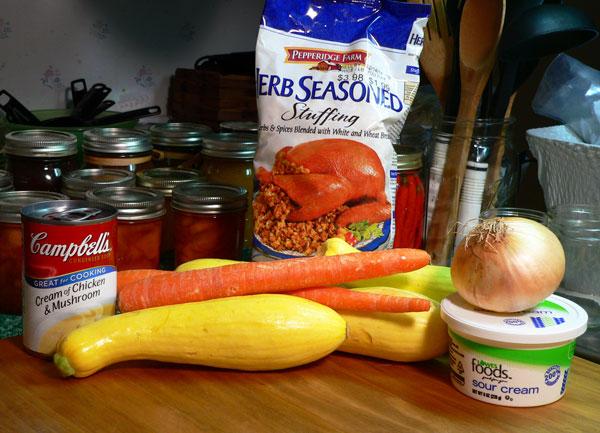Squash Casserole, ingredients.