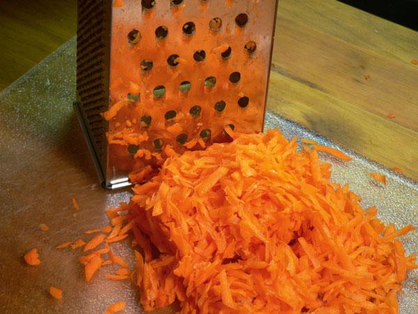 Squash Casserole, grate the carrots.
