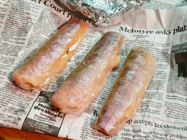 Brook Trout, unwrapped and thawed.