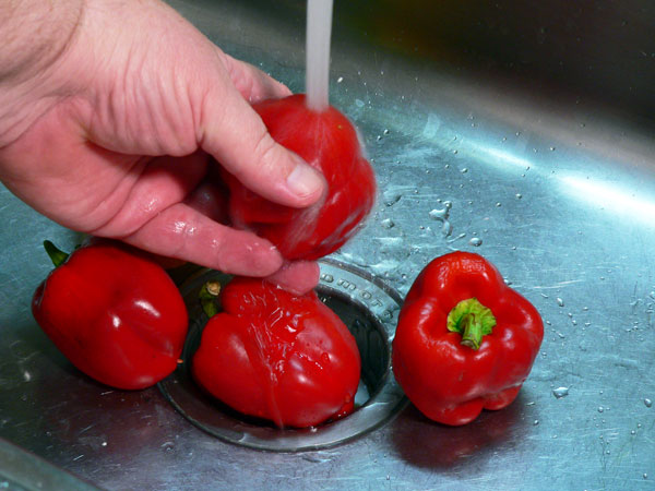 Roasted Peppers, wash the peppers.