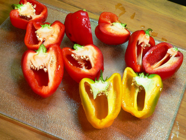 Roasted Peppers, cut in half.