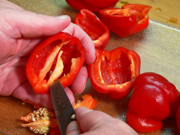 Roasted Peppers, remove the pith.