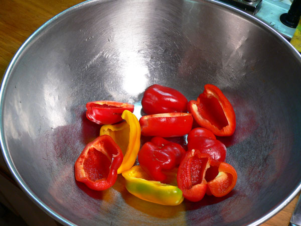 Roasted Peppers, place peppers in a bow.