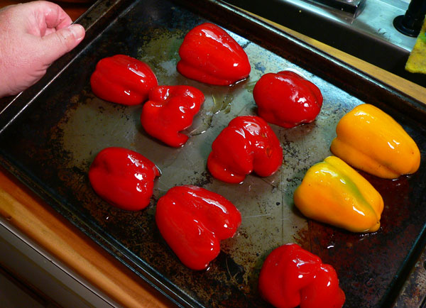 Roasted Peppers, spread on a baking sheet.