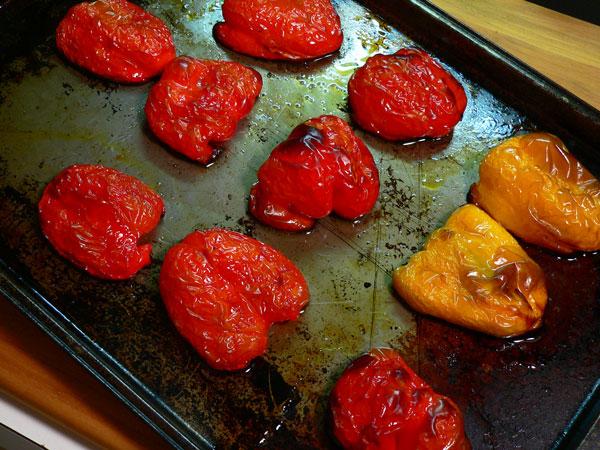 Roasted Peppers, lightly charred peppers.