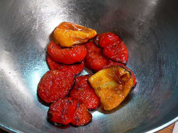 Roasted Peppers, place back in bowl.