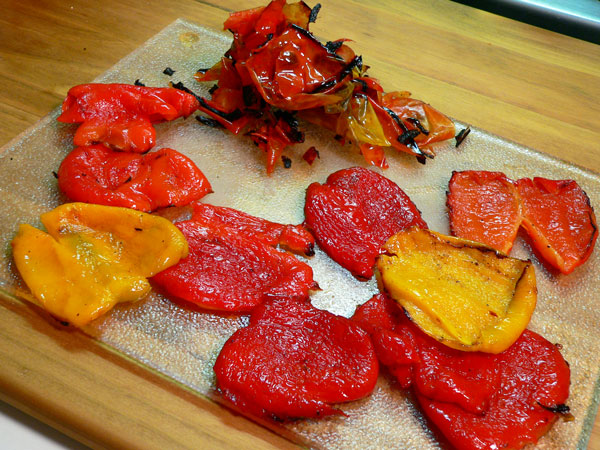 Roasted Peppers, skins removed.