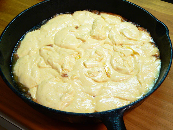 Apple Skillet Cake, add all the batter.