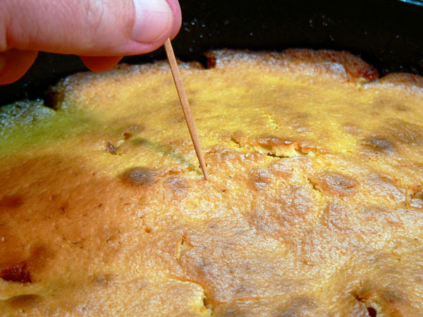 Apple Skillet Cake, test the cake.