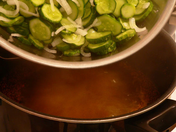 Bread-and-Butter-Pickles, add cukes and onions.