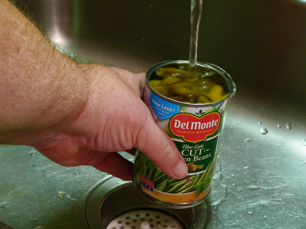 Green Bean Casserole, fill the can with water.