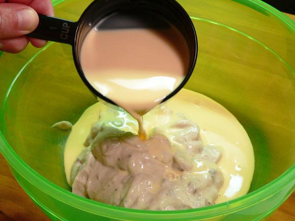 Green Bean Casserole, add the milk.