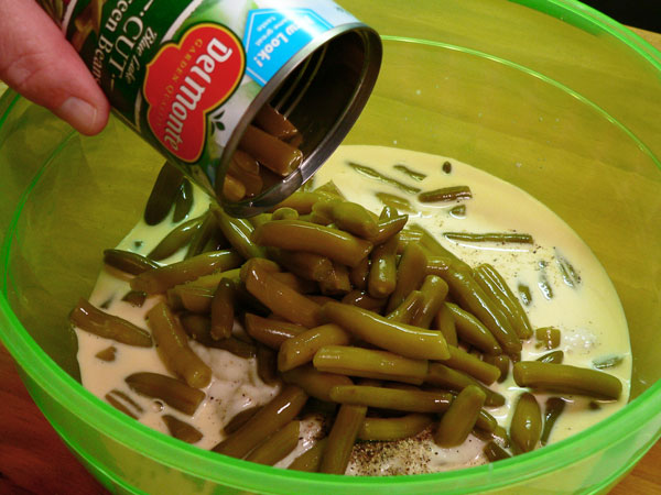 Green Bean Casserole, add the rinsed and drained beans.