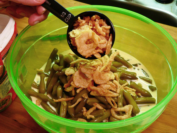 Green Bean Casserole, add some of the onions.