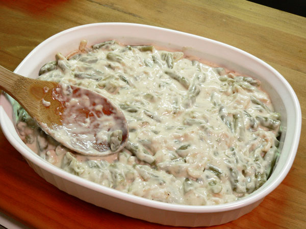 Green Bean Casserole, place in a baking dish.
